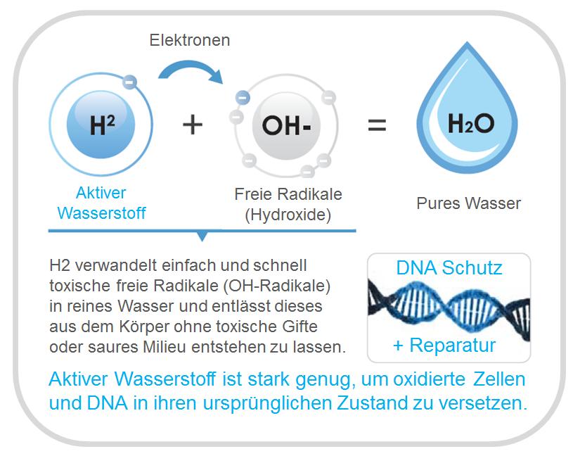 H2CAP Aktiver Wassesrstoff DNA Zell-Schutz und Wiederherstellung